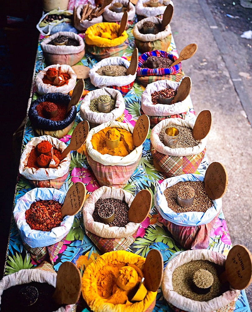 Local spices merchant stall at Pointe-a-Pitre market, Guadeloupe, Caribbean, France