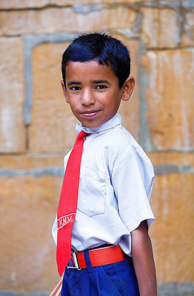 Child in school uniform,Jaisalmer, Rajasthan, India