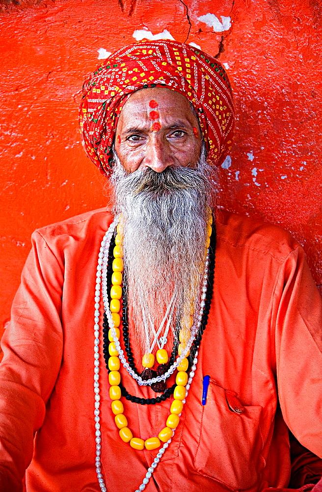 Sadhu holy man,near Brahma temple,pushkar, rajasthan, india