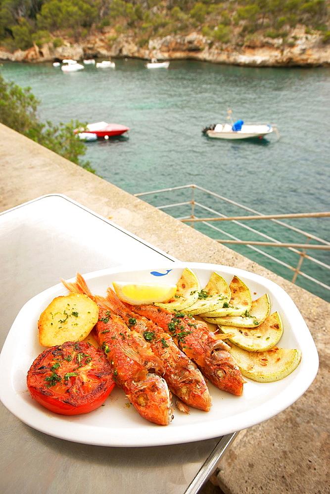 Restaurante Sa Cala, dish Molls, Santanyi Cala Figuera Mallorca Balearic Islands Spain