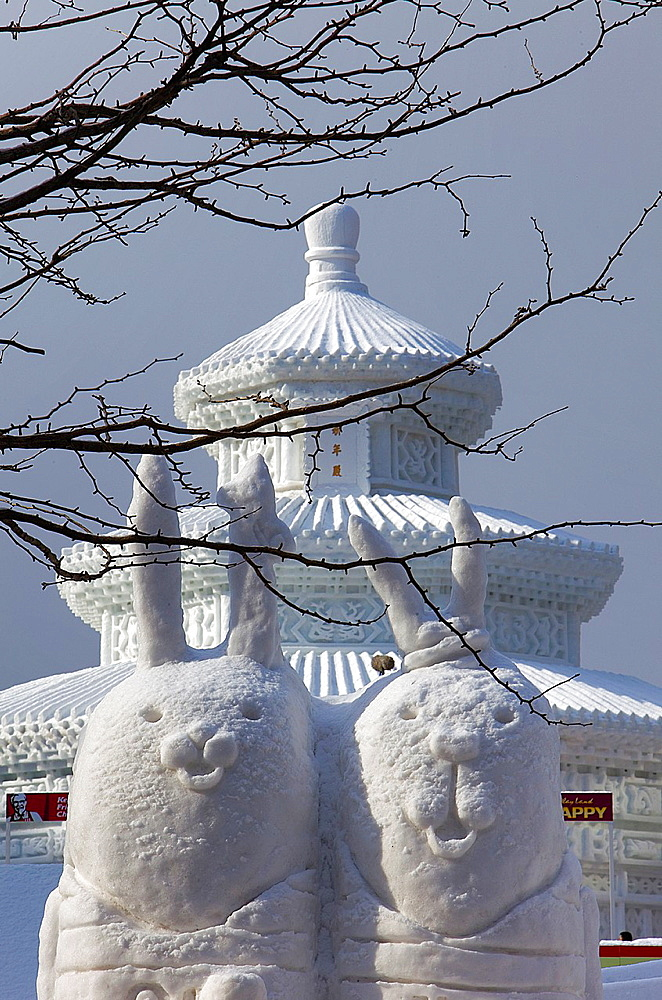 Sapporo snow festival, snow sculptures, Odori Park, Sapporo, Hokkaido, Japan
