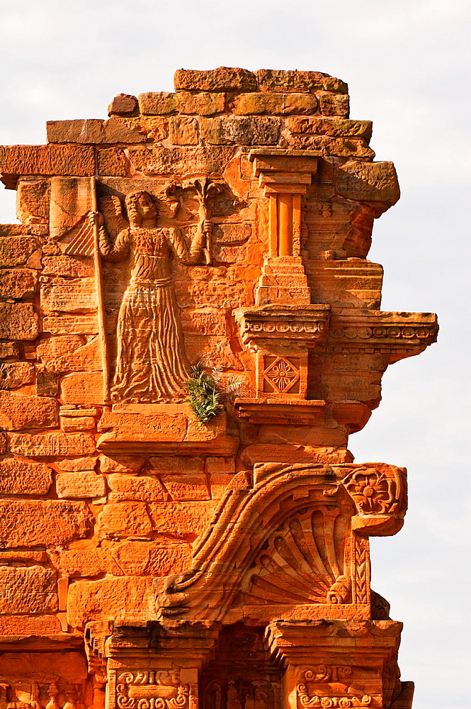 Ruins of the Jesuit reduction San Ignacio Mini, Detail of the Church gate, Misiones Province, Argentina, South America, Unesco World Heritage Site - 817-317497