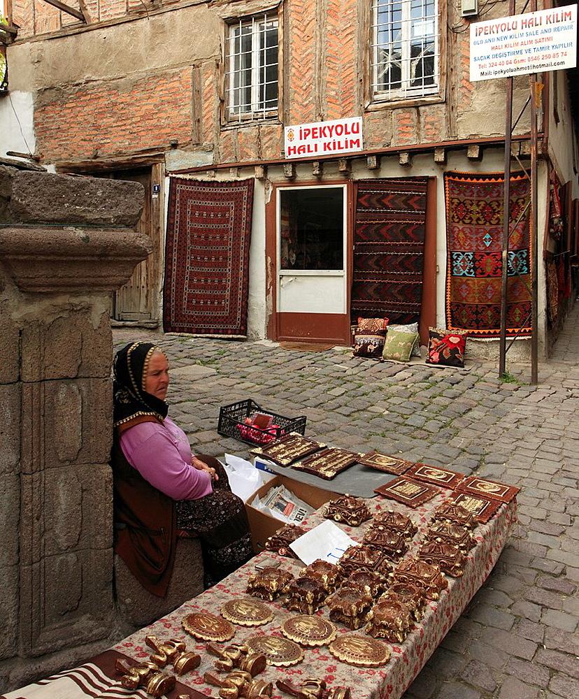 Turkey, Ankara, Ulus, handicraft vendor,