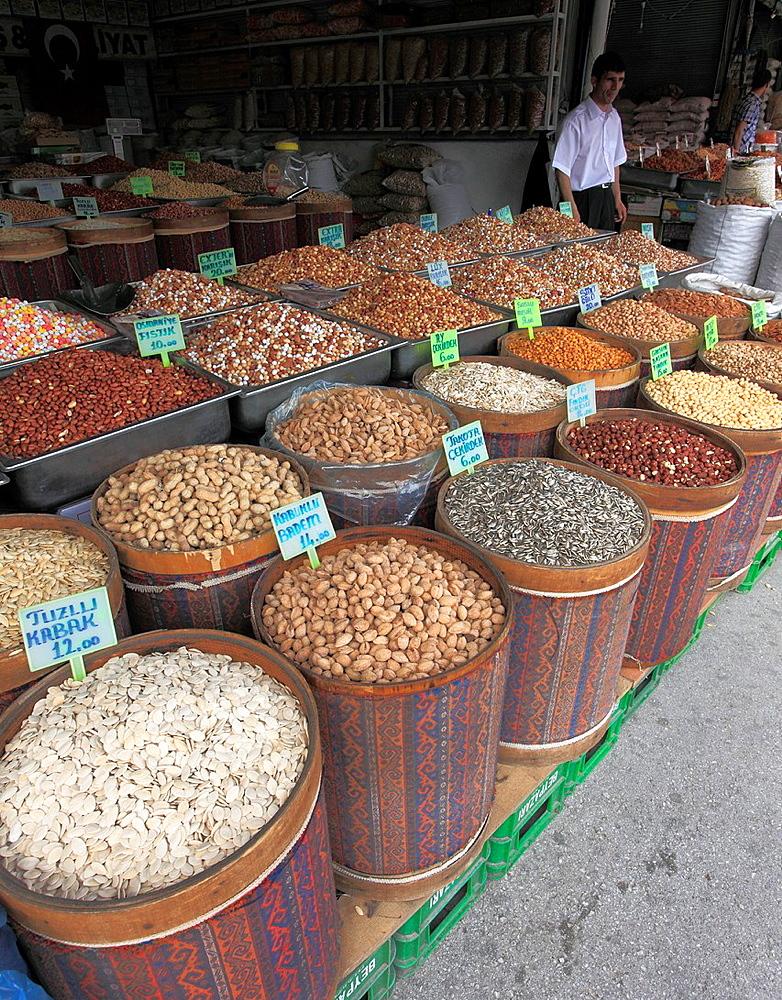Turkey, Ankara, Ulus, grains and nuts shop,