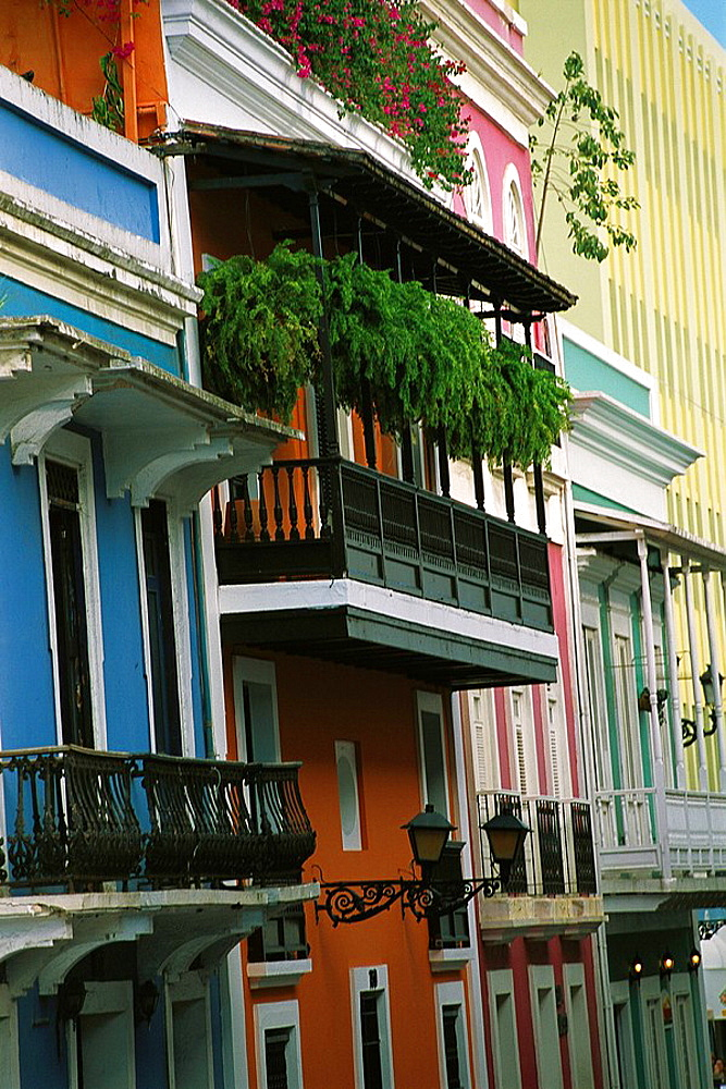 This stunning Spanish colonial buildings on San Jose Street in Old San Juan are just steps from Plaza de Armas, a favorite meeting place for tourists and locals, Puerto Rico