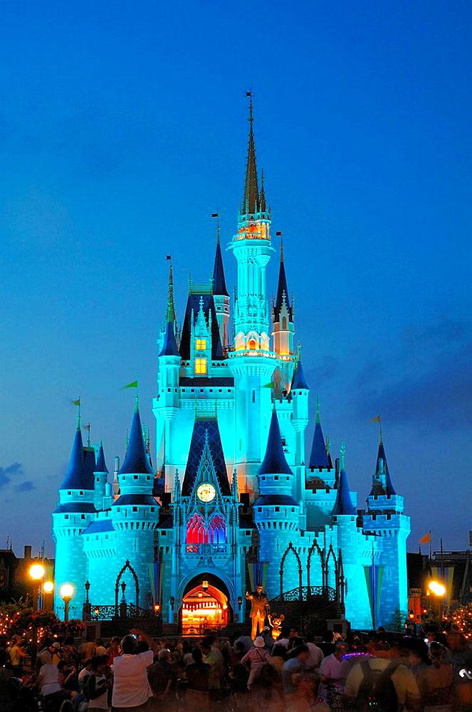 magic kingdom castle at night orlando florida usa america walt disney world resort - 817-31896