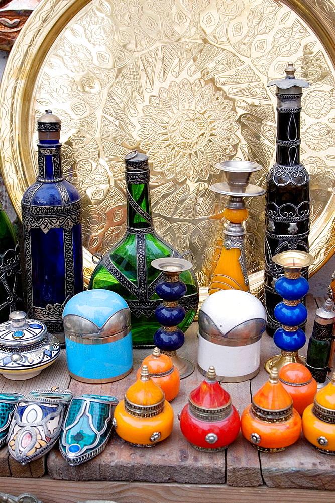 Tripoli, Libya, Antique Glassware, Cosmetic Jars, Copper Market Suq al-Ghizdir, Tripoli Medina Old City Bottles, Metal Trays