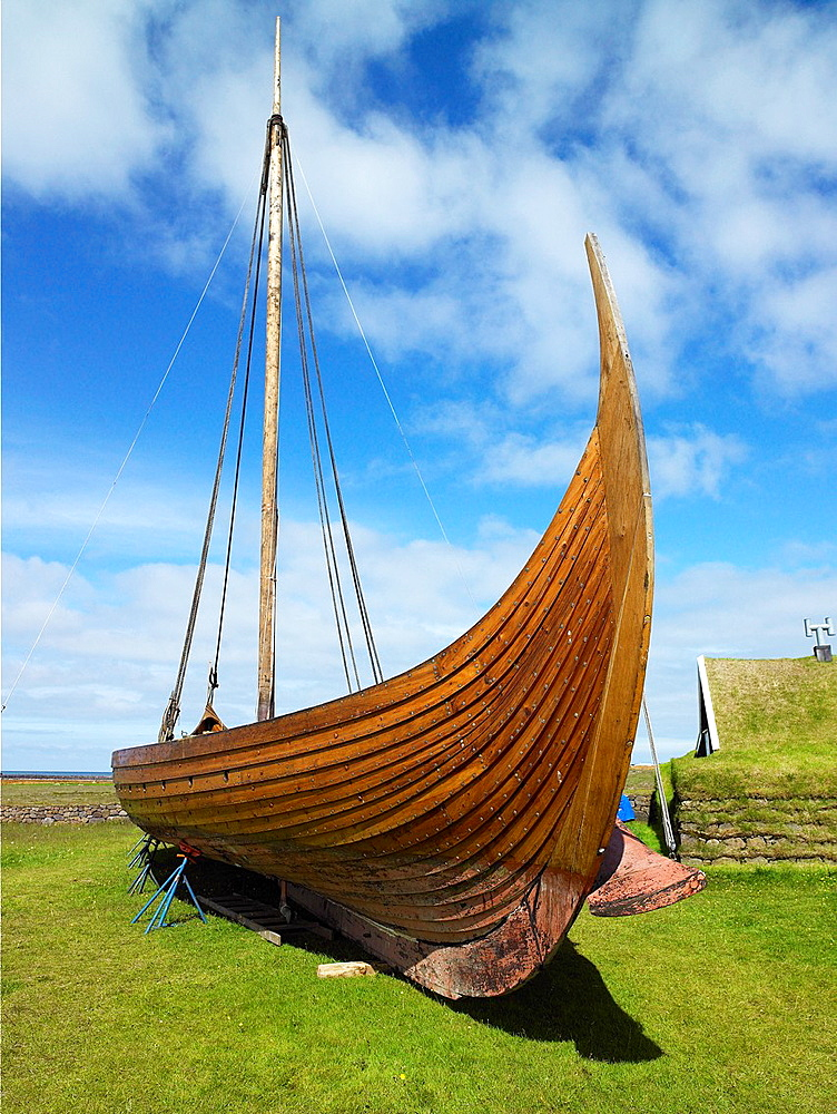 Replica Viking Ship 'Islendingur' 'The Icelander', is a replica of the ancient Viking longships  The ship sailed the oceans to duplicate the voyage taken by Leif Ericson and his crew 1000 years ago  The Islendingur is now retired to a museum in Keflavik, . Replica Viking Ship 'Islendingur' 'The Icelander', is a replica of the ancient Viking longships  The ship sailed the oceans to duplicate the voyage taken by Leif Ericson and his crew 1000 years ago  The Islendingur is now retired to a museum in Keflavik, Iceland