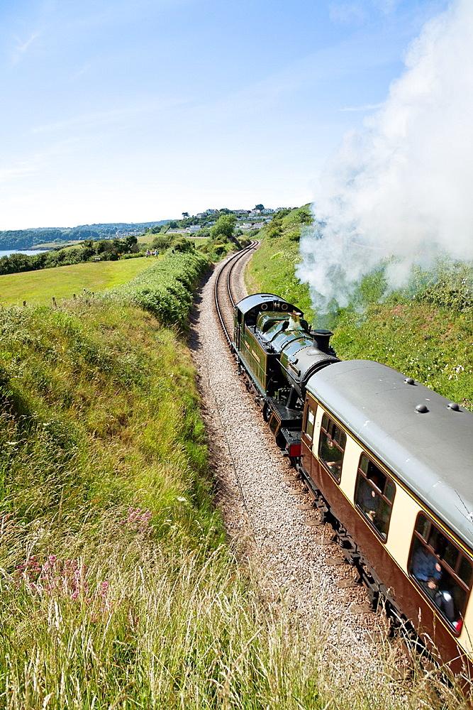 England Devon Broadsands Locomotive 5239 'Goliath' on the Paignton and Dartmouth Steam Railway