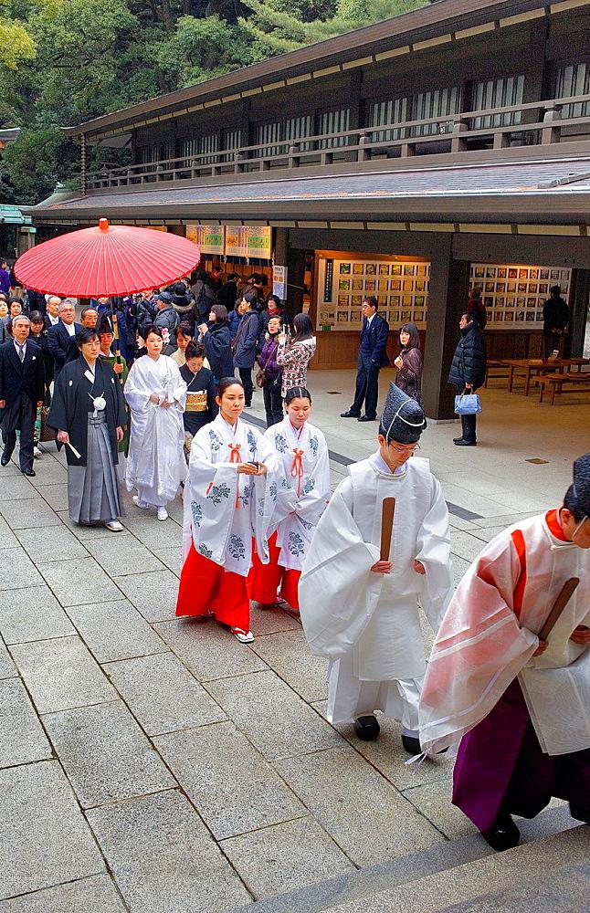 Sanctuary of Meiji Jingu Traditional wedding, Tokyo, Japan, Asia
