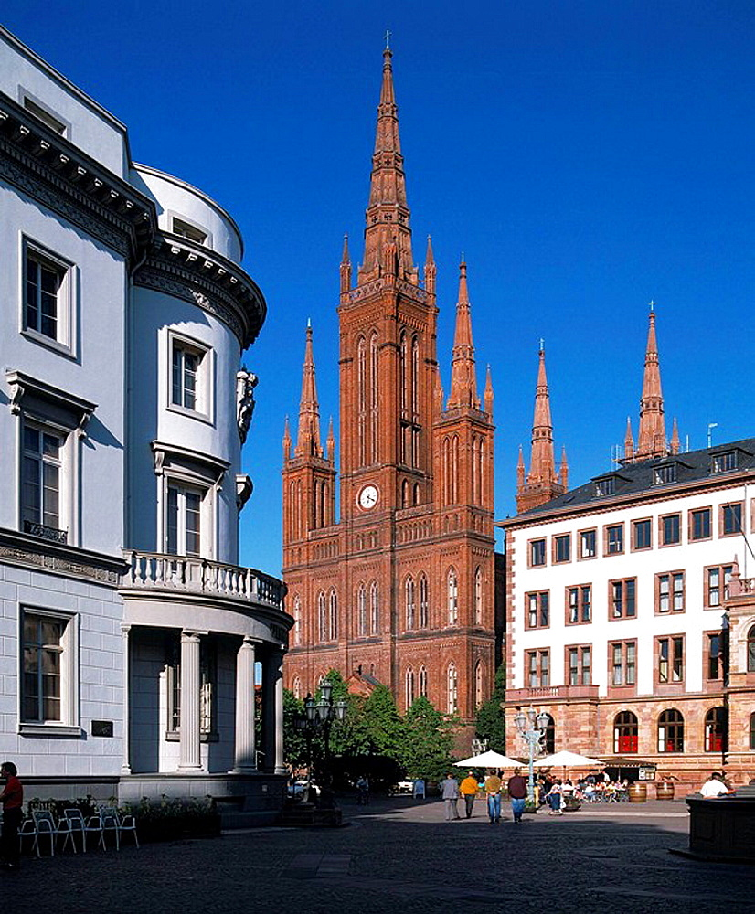 Germany, Wiesbaden, Rhine, Hesse, Castle Square, city castle, seat of the Hessian State Parliament, neo-Gothic Market Church, city hall