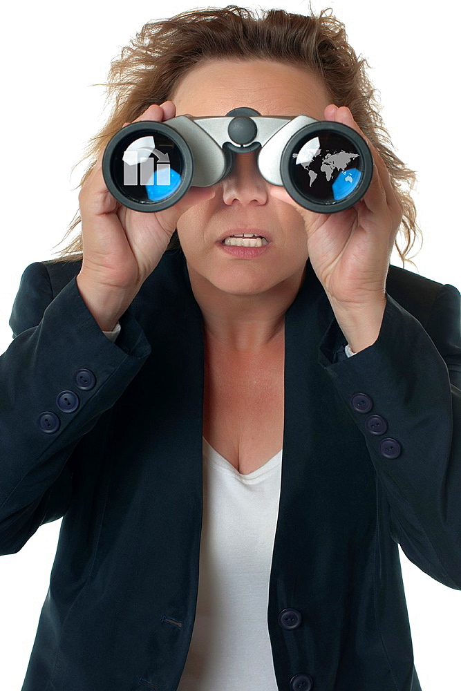A businesswoman with binoculars seeing business chart and world map, concerned, shocked and outraged