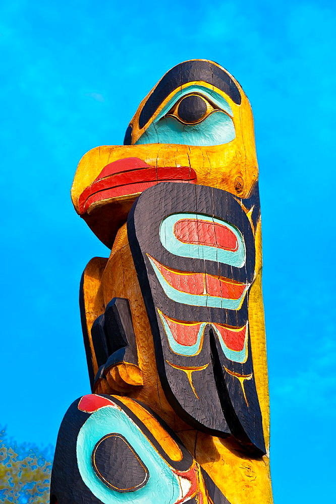 Saxman totem poles largest collection of totem poles in the world, Saxman, near Ketchikan, Southeast Alaska USA