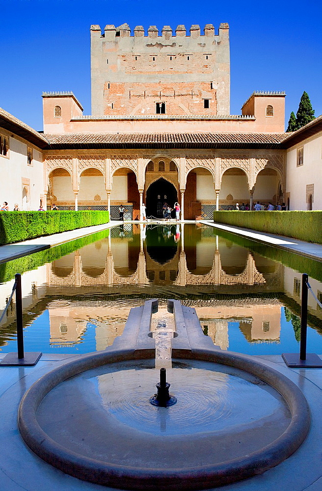 `Patio de los Arrayanes', Courtyard of the Myrtles, Comares Palace, Nazaries palaces, Alhambra, Granada, Andalusia, Spain