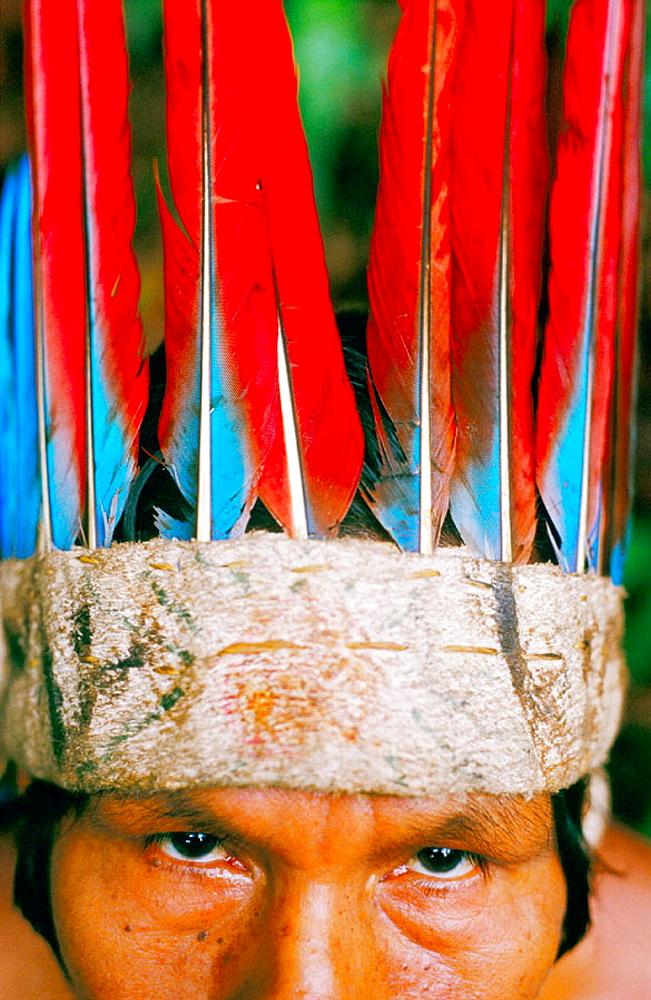 Mr, Hitoma, a Huitoto indian chief, Leticia, Amazon, Colombia - 817-34980