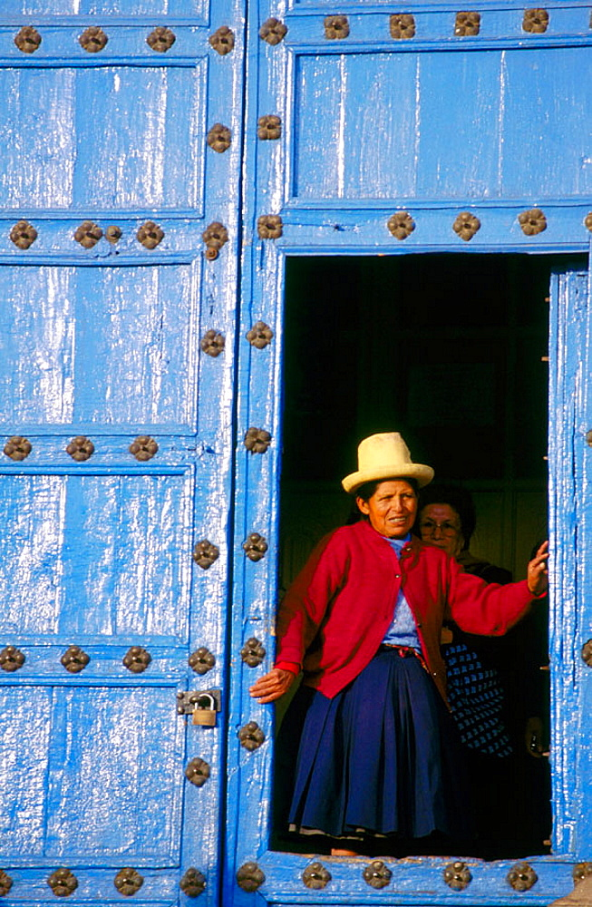 Church door, Cuzco, Amazon River, Peru - 817-35004