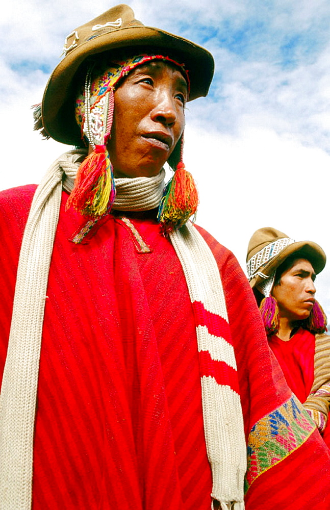 Men with traditional dress, Urubamba River valley, Peru - 817-35013