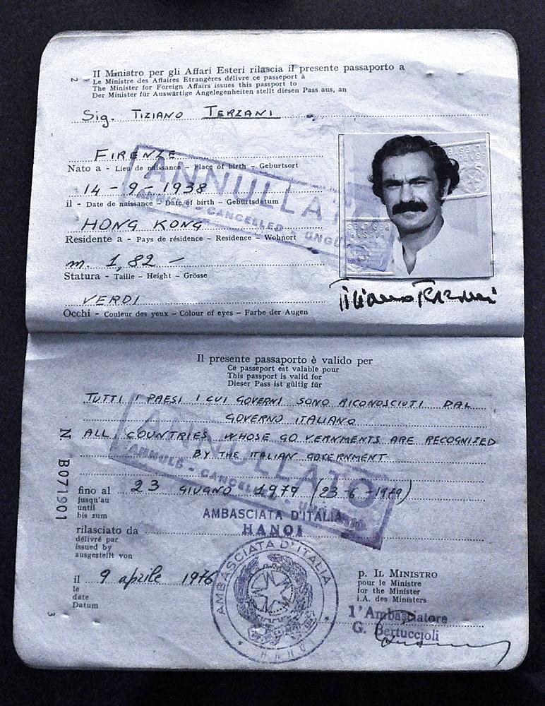 Italy, Bologna, Tiziano Terzani's passport, at an exhibition dedicated to the famous journalist and writer at Palazzo Fava