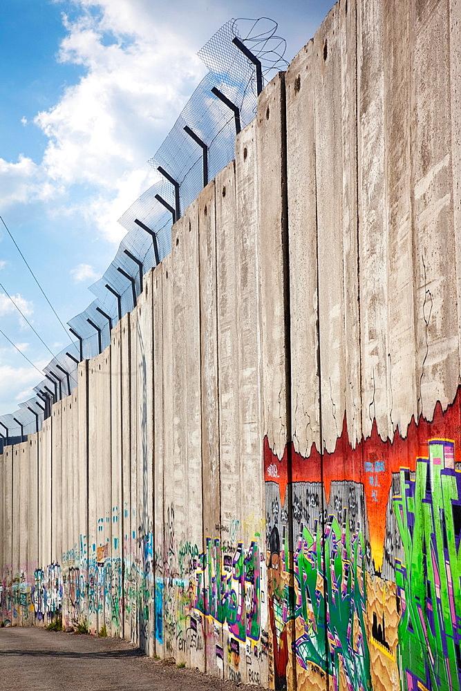 Israel, West Bank, Bethlehem, Israeli-built West Bank Wall surrounding Bethlehem