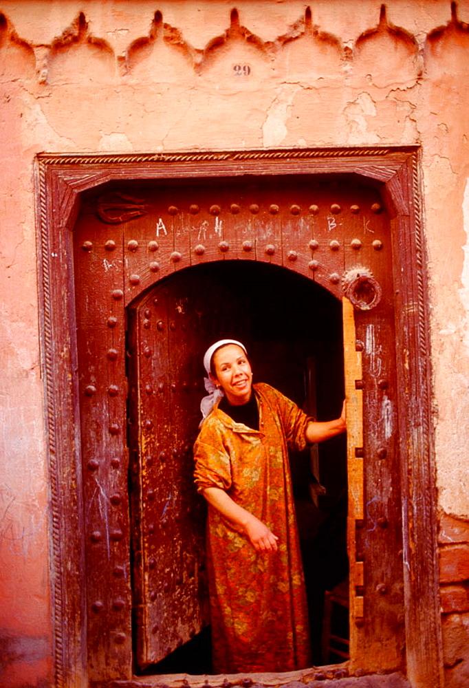 House (Riad) door in the medina, Marrakech, Morocco - 817-35705
