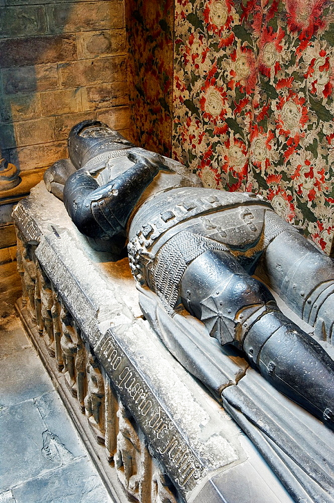 Stone tomb effigy of Alexander Stewart, Earl of Buchan, in Dunkeld Cathedral, Scotland Died 1405 Known as The Wolf of Badenoch