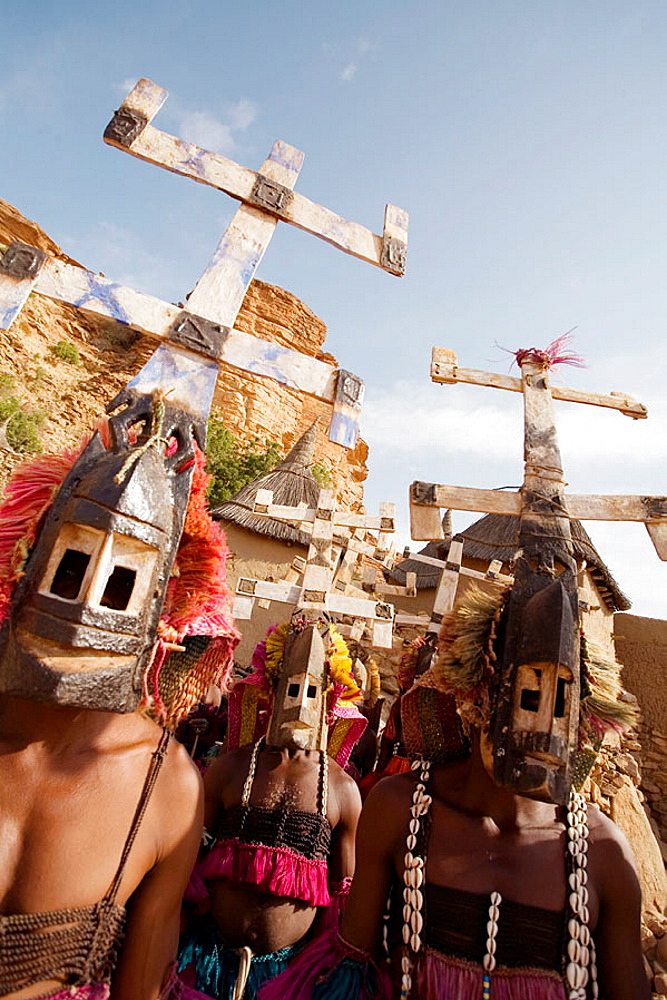 The Awa a secret masking association take part in many ceremonies, specially the Dama  a highly religious ceremony ending a period of mourning, Dogon Village of Tireli,  Dogon Country, Mali, Africa