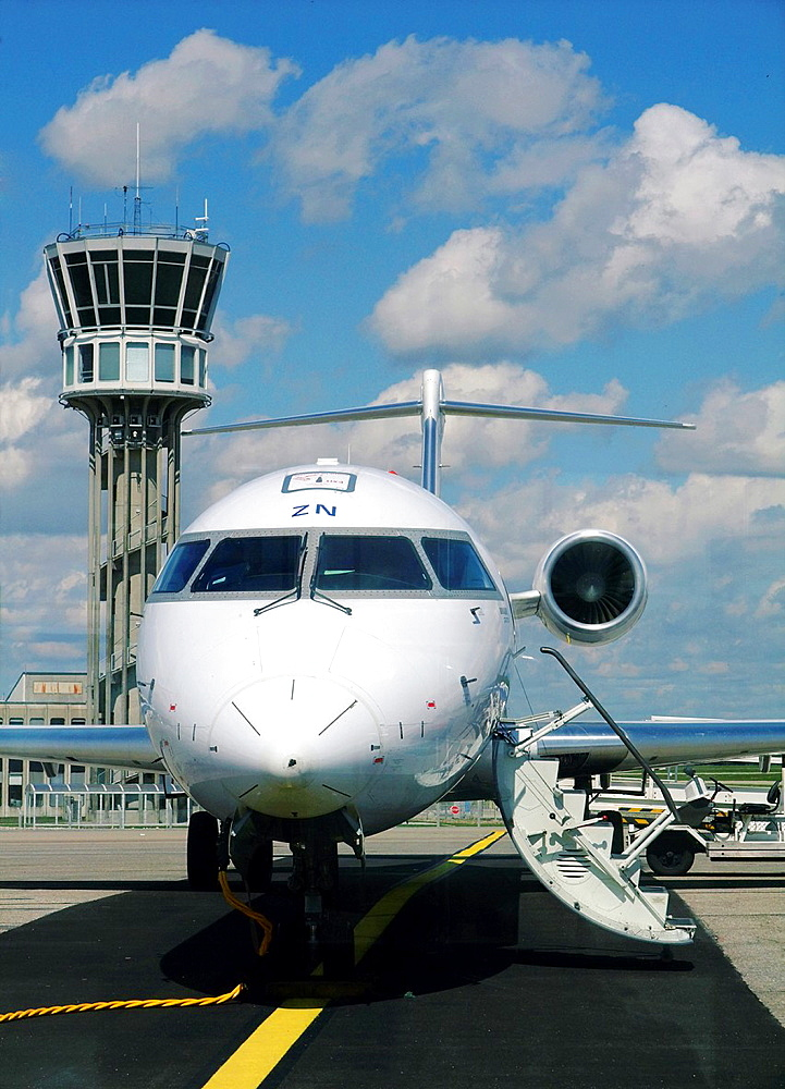Canadair Bombadier Regional Jet CRJ-700 of Brit Air (flying for Air France) on the parking at Lyon Saint Exupery airport, France