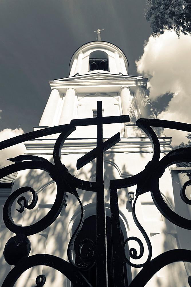 Russia, Pskovskaya Oblast, Pushkinskie Gory, Svyatagorsky Monastery, church and gate