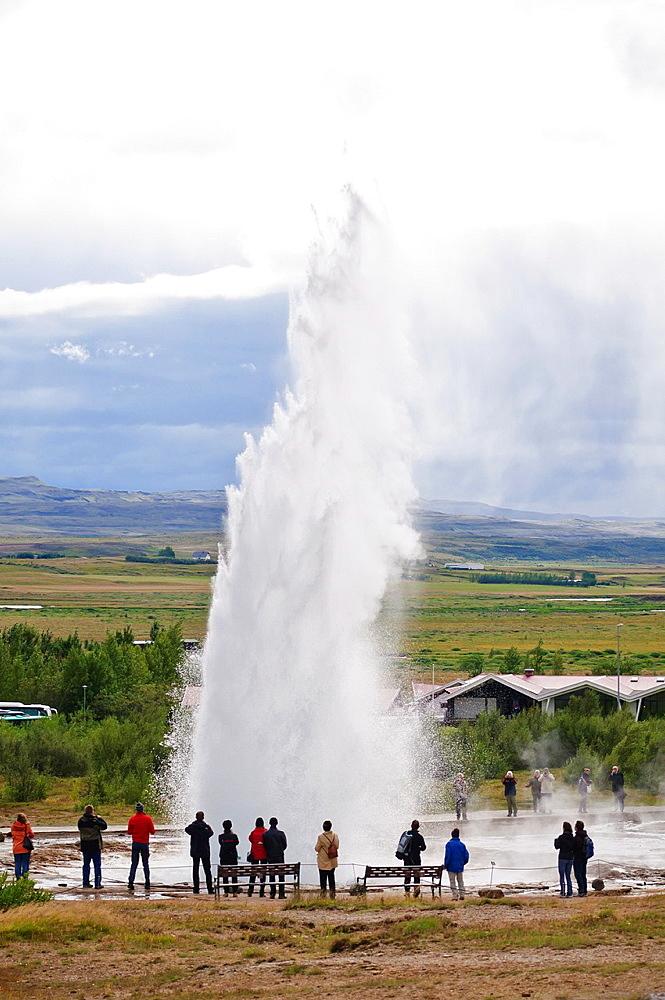 Strokkur geyser erupts Haukadalur, Iceland
