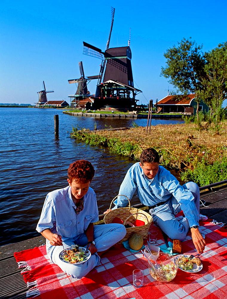Windmill,  Zaanse Schans, Zaandam, Netherlands