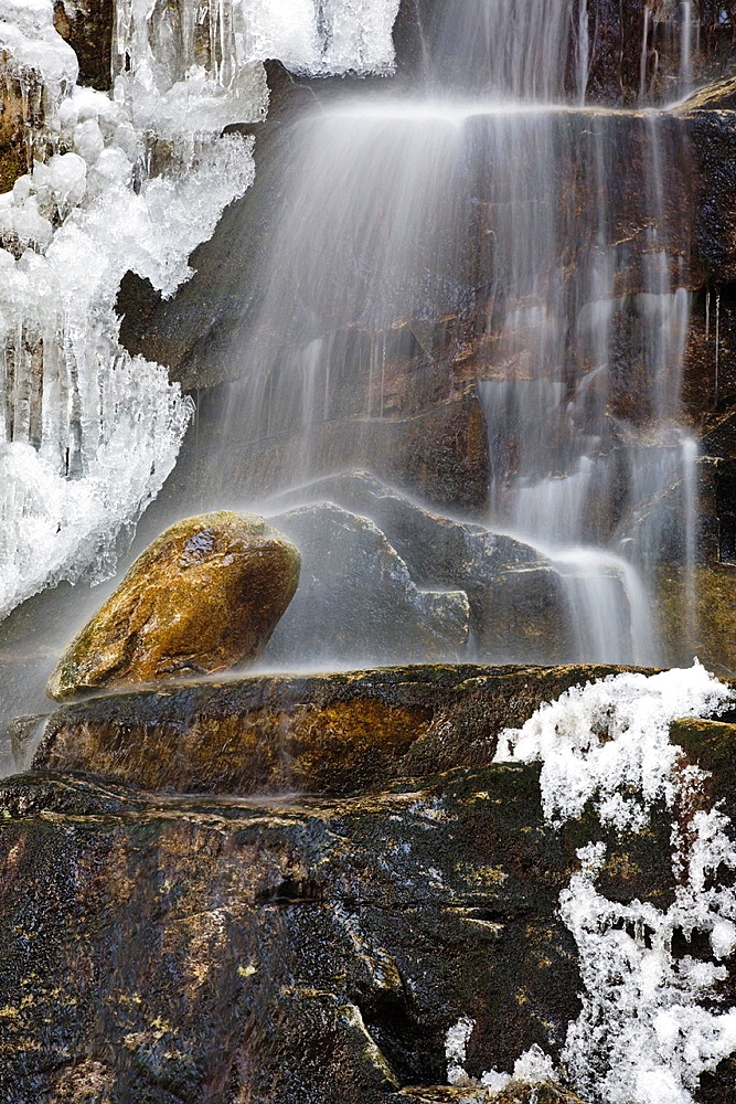 Devils Kitchen Gorge - Coosauk Fall along Bumpus Brook during the spring months in Randolph, New Hampshire USA
