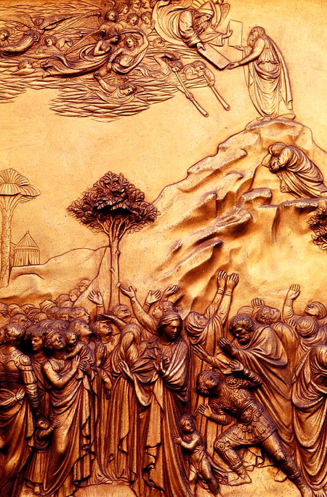 Ghiberti's Gates of Paradise detail, baptistery of Santa Maria del Fiore, Florence, Italy