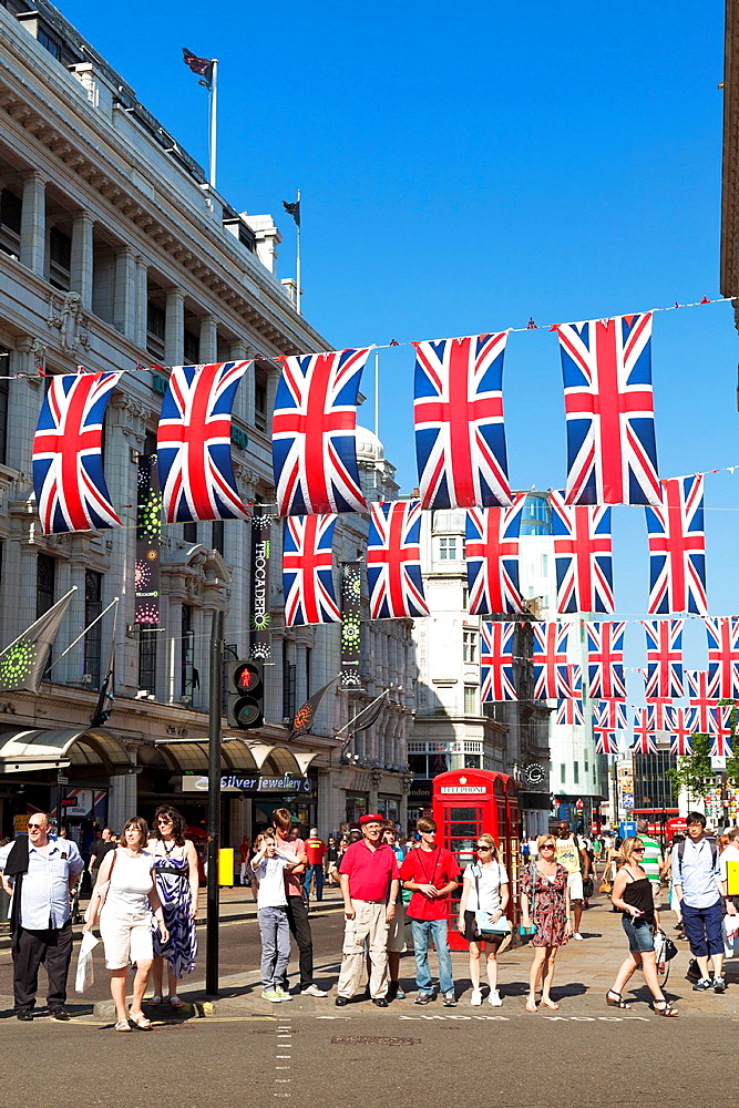 Street bunting for Queens diamond jubilee celebrations in Coventry Street in central London, England