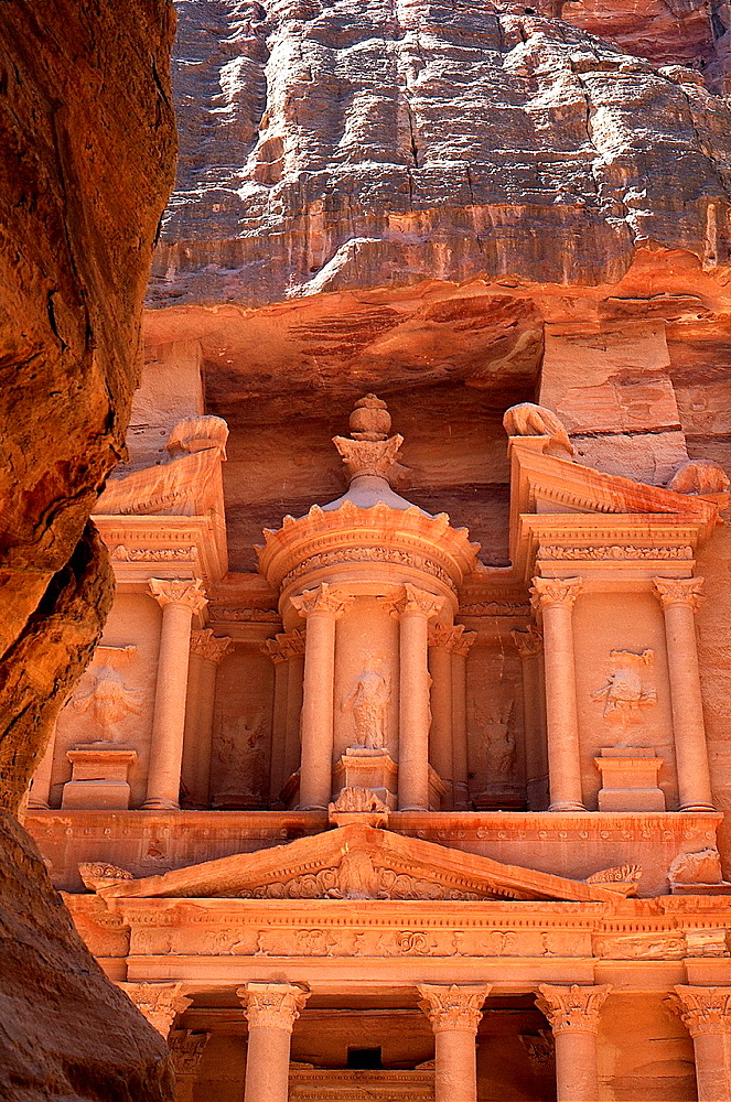 Al Khazneh, Petra´s most elaborate ruin, seen from the narrow gorge Siq, Jordan, Middle East, Asia