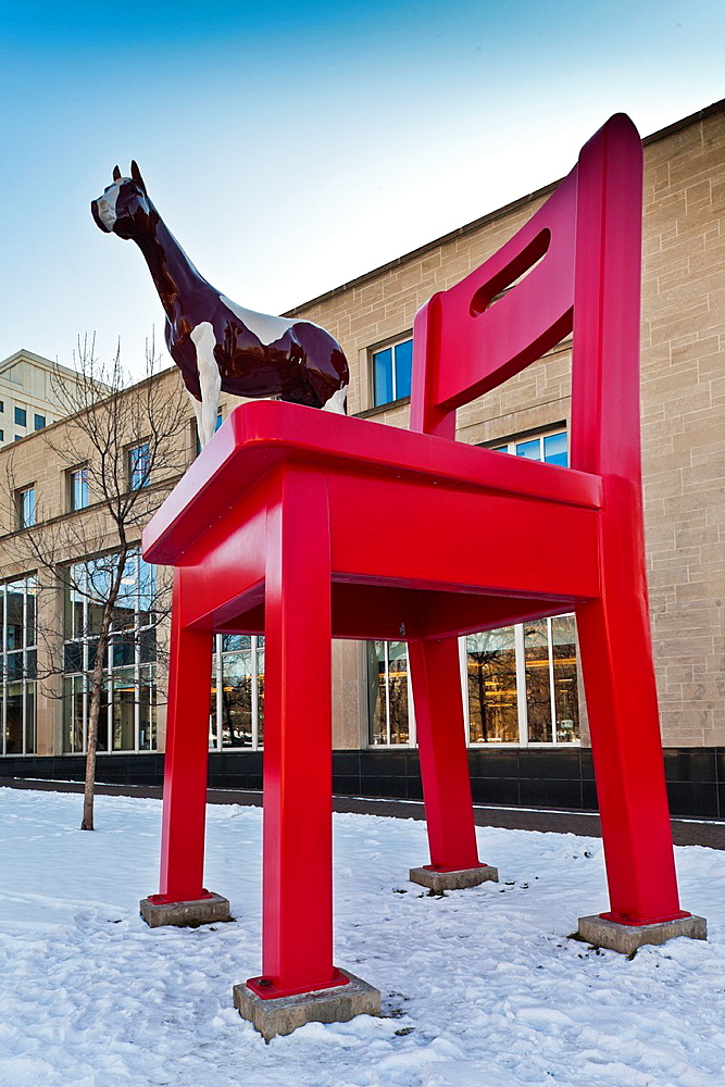 USA, Colorado, Denver, The Yearling, sculpture by Donald Lipski outside the Denver Public Library