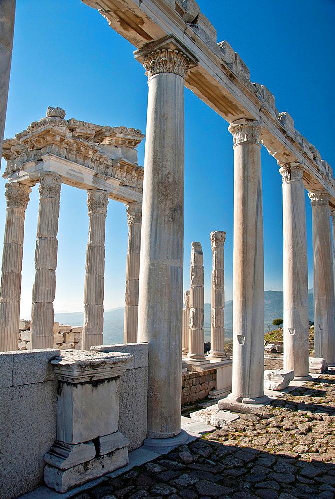 Ruins of temple of Trajaneum in Pergamon, Bergama, Turkey