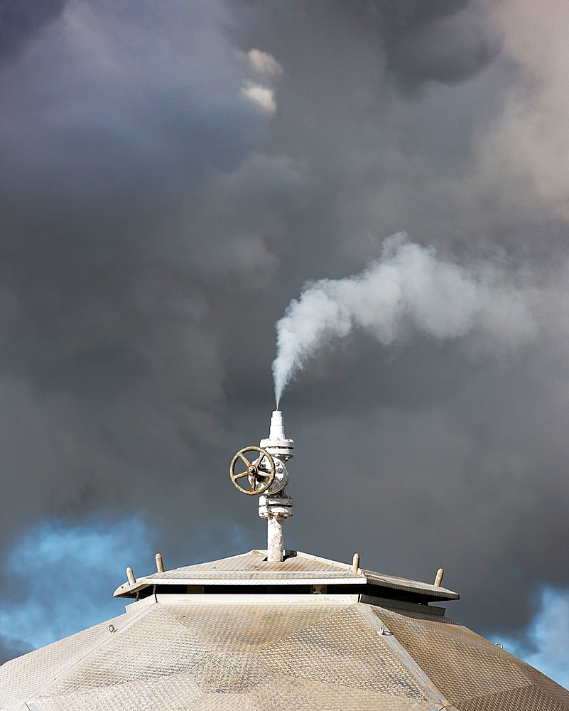 Steaming boreholes at The Hellisheidi Geothermal Power Plant, Iceland