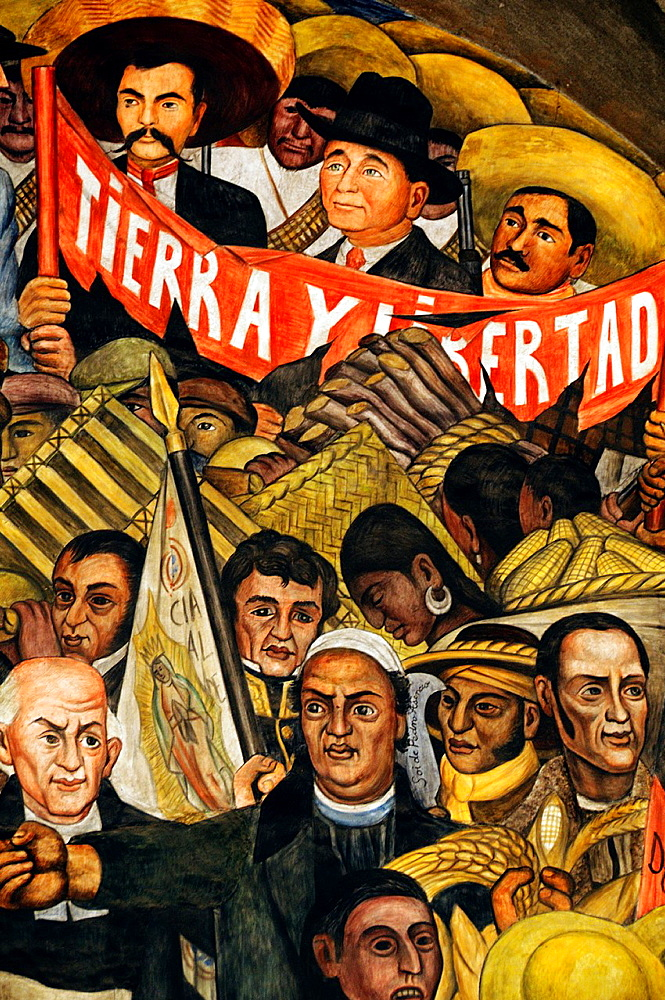 America. Mexico. Mexico DF. National Palace Independence War and the Mexican Revolution mural, detail with the main heroes, Father Hidalgo, Morelos, Allende, Zapata, etc. Diego Rivera´s Work 1886-1957