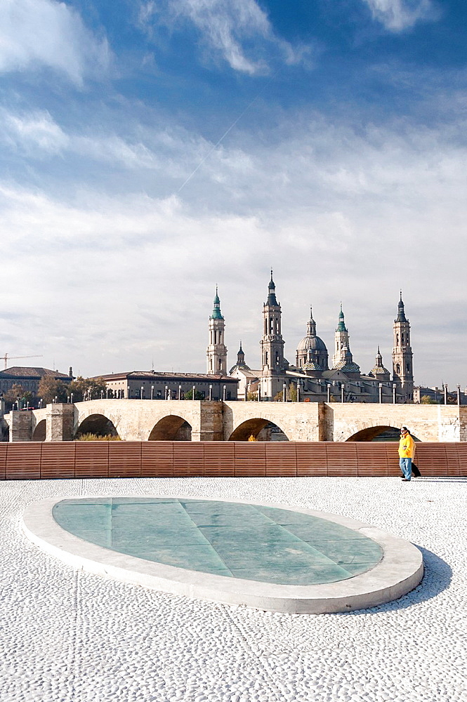 Saragossa riverside with Basilic of the Pilar background, Aragon, Spain