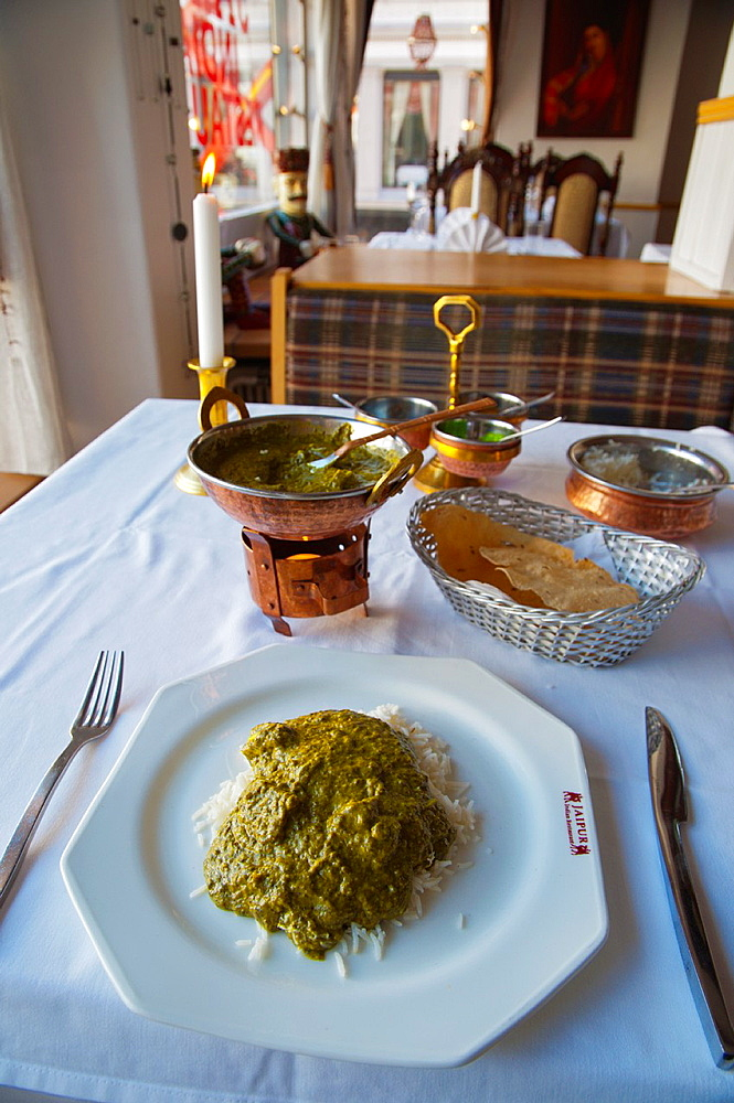 Palak Panir Indian vegetarian stew with rice and bread Jaipur restaurant Egertorget square along Karl Johans Gate street Oslo Norway Europe
