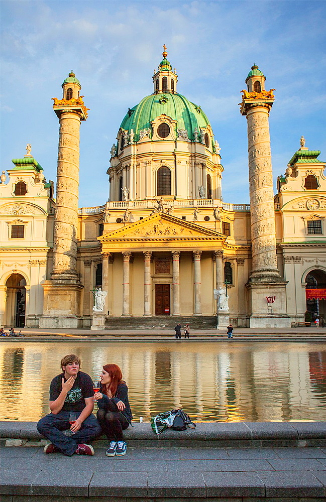 Karlskirche, St  Charles Borromeo church by Fischer von Erlach in Karlsplatz, Vienna, Austria, Europe