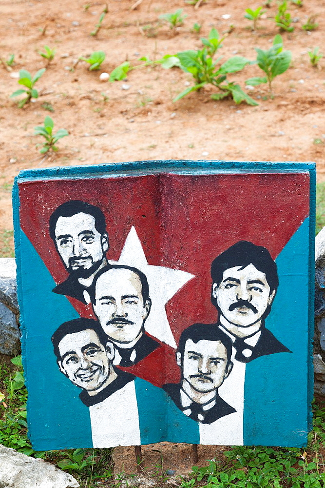 Cuba, Pinar del Rio Province, Vinales, Vinales Valley, mural with the Cuban 5, Cuban intelligence agents imprisoned in the USA