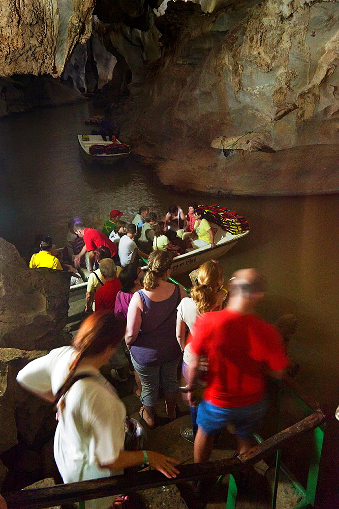 Cuba, Pinar del Rio Province, Vinales, Valle de San Vincente, Cueva del Indio, tourists visiting cave,NR