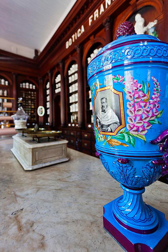 Cuba, Matanzas Province, Matanzas, interior of the Museo Farmaceutico, 19th century pharmacy museum