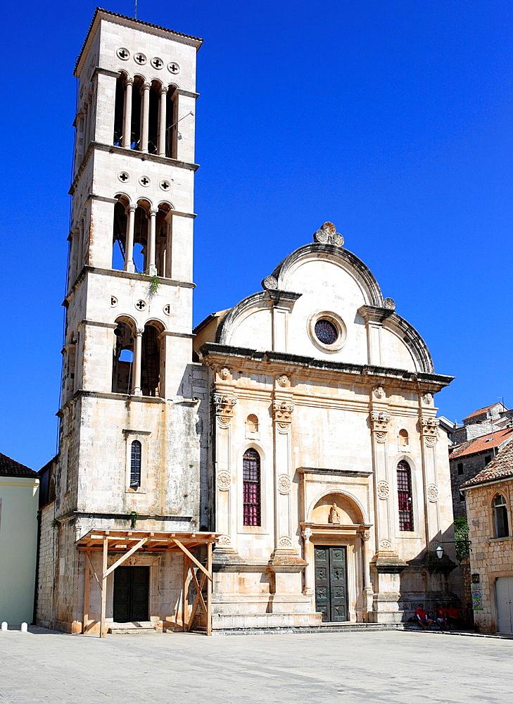 Cathedral of Sv  Stjepan St  Stephen, central square Pjaca, city of Hvar, Island of Hvar, Dalmatian coast, Croatia