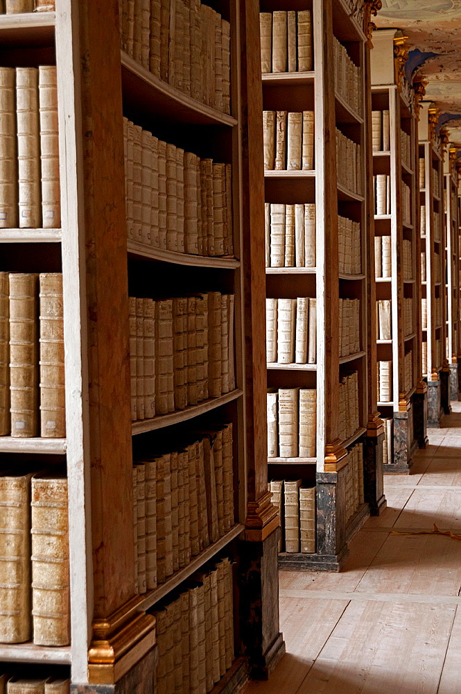 The library in Benedictine monastery, Ottobeuren, Bavaria, Southern Germany