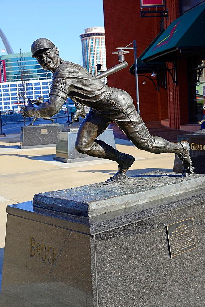 Lou Brock Statue Busch Stadium St  Louis MO Missouri Cardinals Baseball