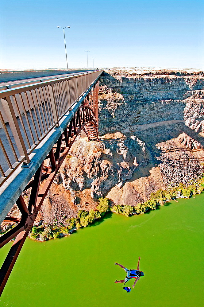Connie Clark BASE Jumping the Perrine Memorial Bridge over the Snake River Canyon near the city of Twin Falls in southern Idaho