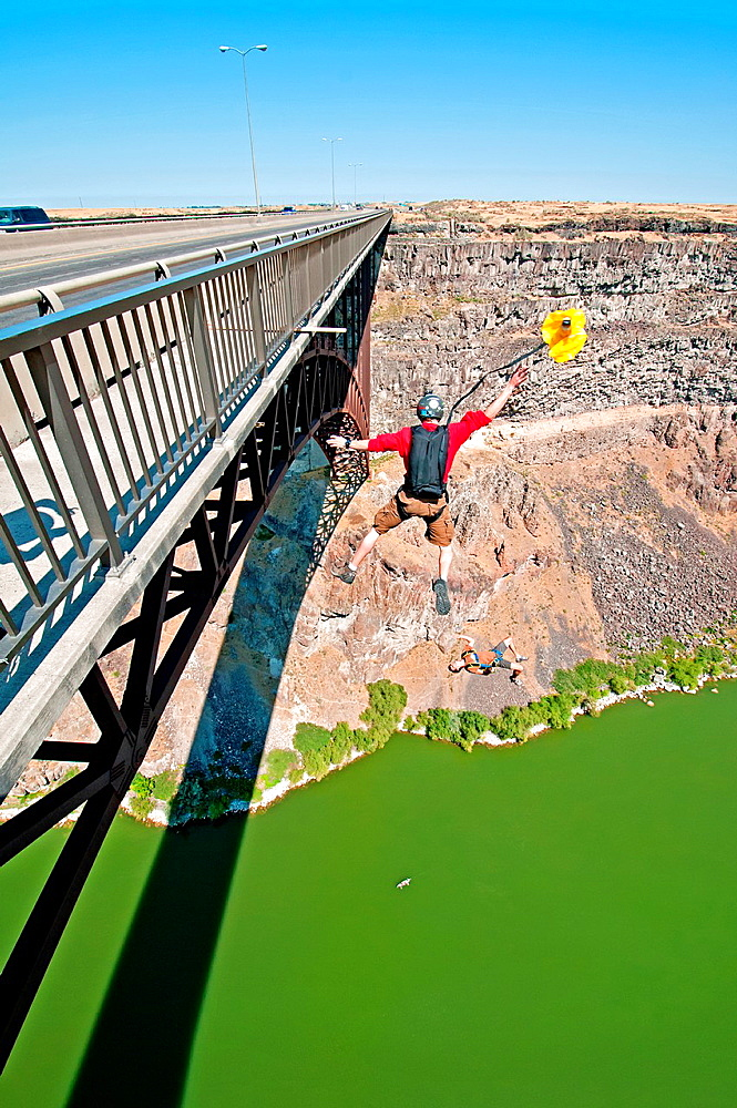 Tim Dutton and James MacDonald BASE jumping at the Perrine Memorial Bridge over the Snake River Canyon near the city of Twin Falls in southern Idaho