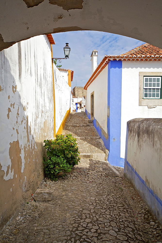 Secluded Cobblestone Street in the Medieval Village of Obidos